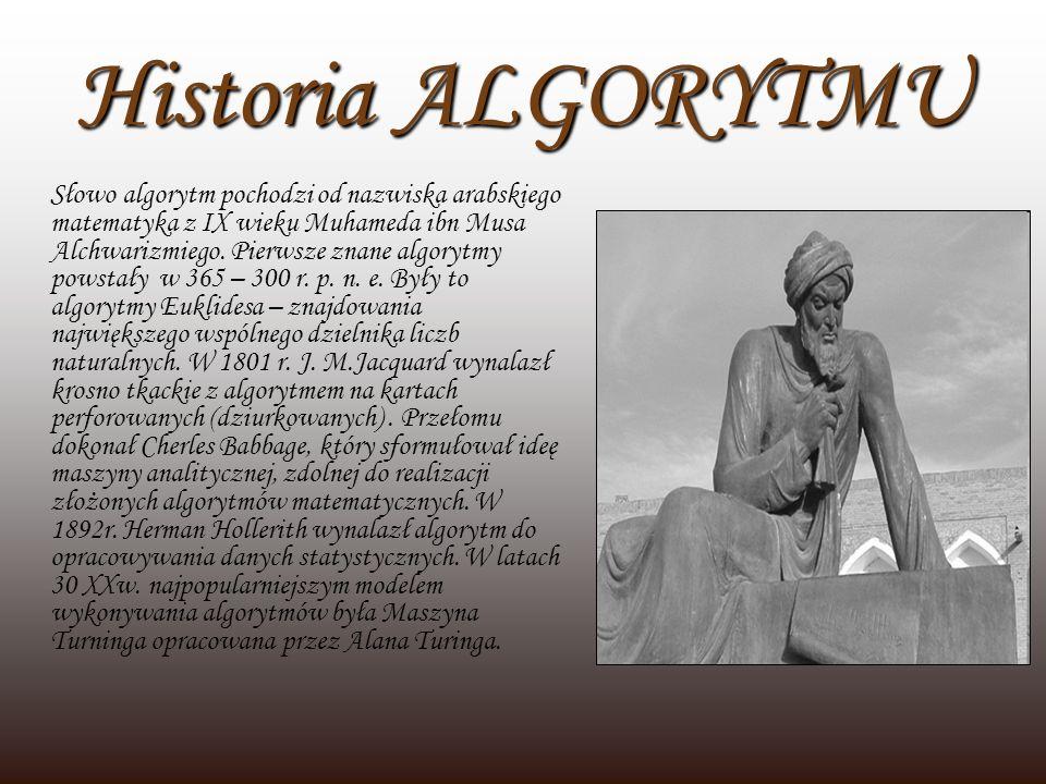 Historia ALGORYTMU Słowo algorytm pochodzi od nazwiska arabskiego matematyka z IX wieku Muhameda ibn Musa Alchwarizmiego. Pierwsze znane algorytmy pow
