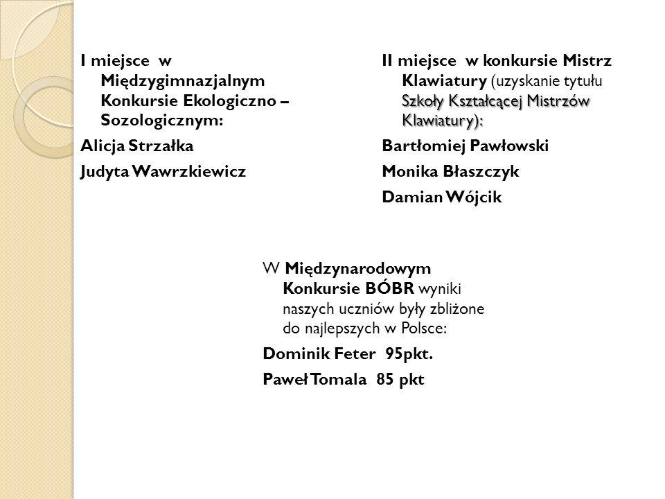 Szkoły Kształcącej Mistrzów Klawiatury): II miejsce w konkursie Mistrz Klawiatury (uzyskanie tytułu Szkoły Kształcącej Mistrzów Klawiatury): Bartłomie