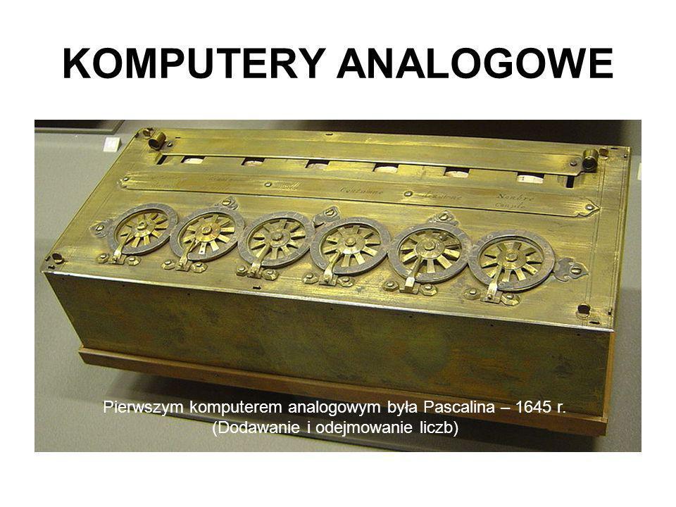 KOMPUTERY ANALOGOWE Pierwszym komputerem analogowym była Pascalina – 1645 r. (Dodawanie i odejmowanie liczb)
