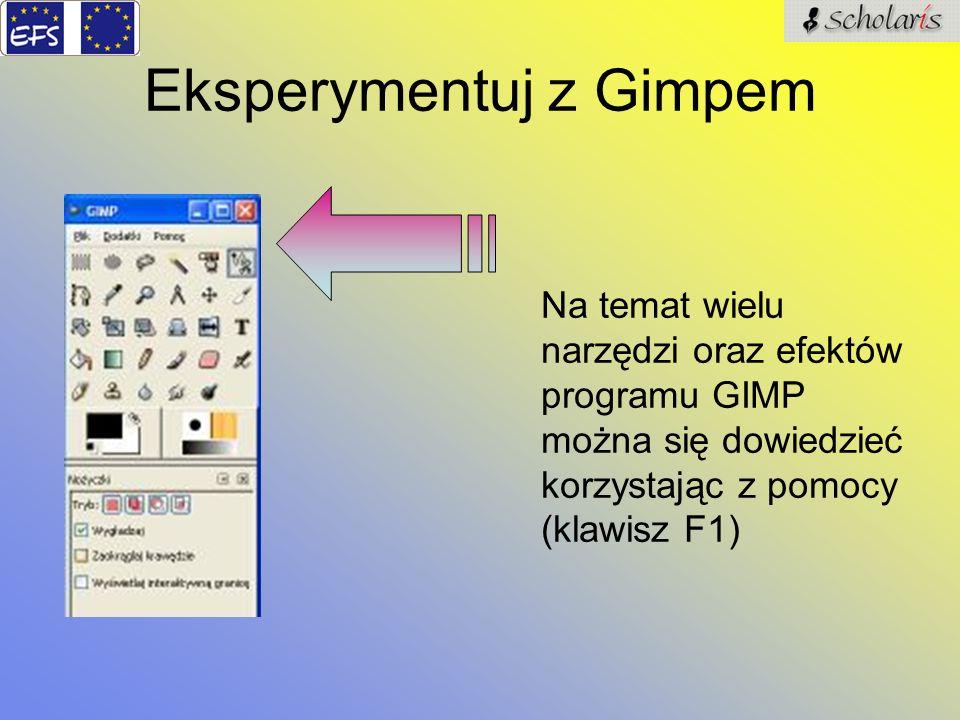 Eksperymentuj z Gimpem Na temat wielu narzędzi oraz efektów programu GIMP można się dowiedzieć korzystając z pomocy (klawisz F1)
