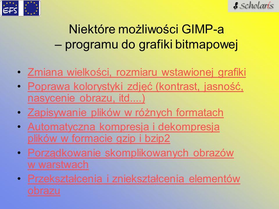 Niektóre możliwości GIMP-a – programu do grafiki bitmapowej Zmiana wielkości, rozmiaru wstawionej grafiki Poprawa kolorystyki zdjęć (kontrast, jasność