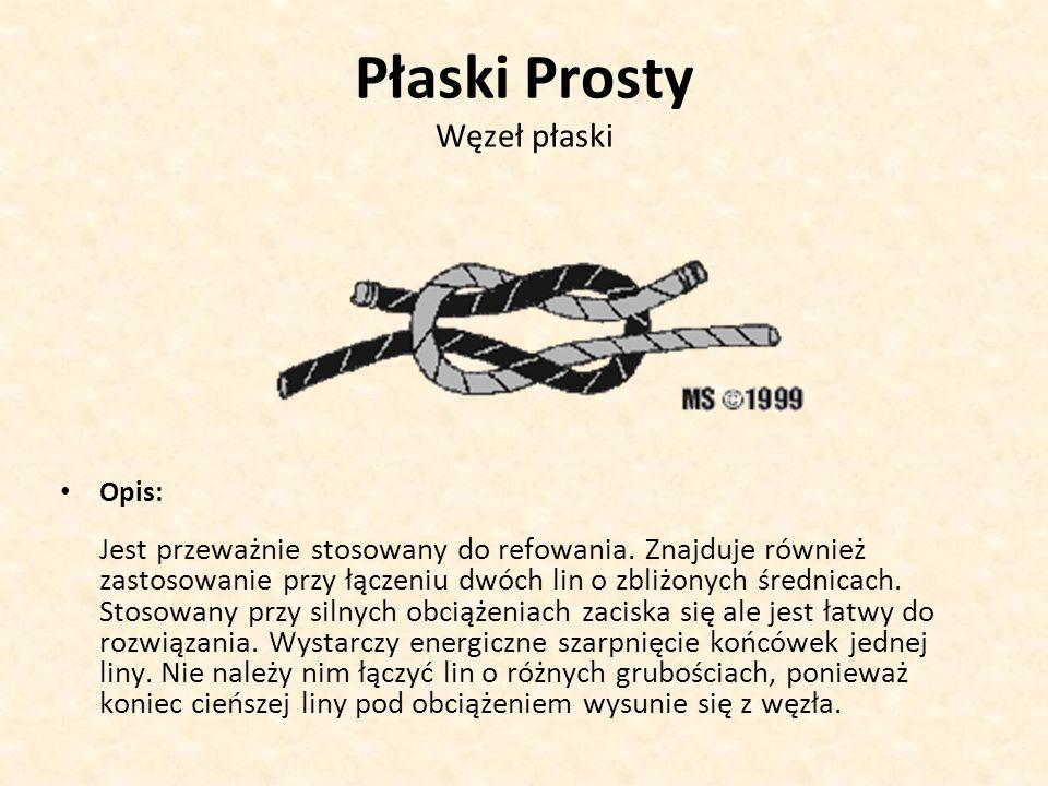 Płaski Prosty Węzeł płaski Opis: Jest przeważnie stosowany do refowania. Znajduje również zastosowanie przy łączeniu dwóch lin o zbliżonych średnicach