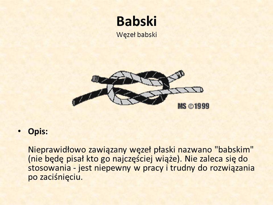 Babski Węzeł babski Opis: Nieprawidłowo zawiązany węzeł płaski nazwano