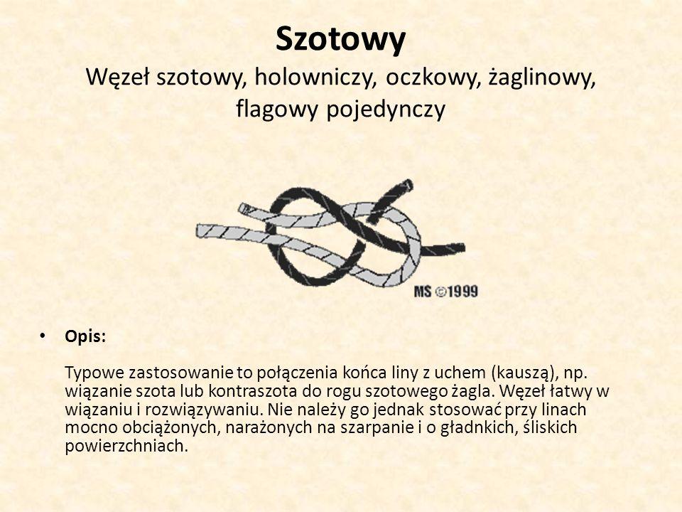Szotowy Węzeł szotowy, holowniczy, oczkowy, żaglinowy, flagowy pojedynczy Opis: Typowe zastosowanie to połączenia końca liny z uchem (kauszą), np. wią