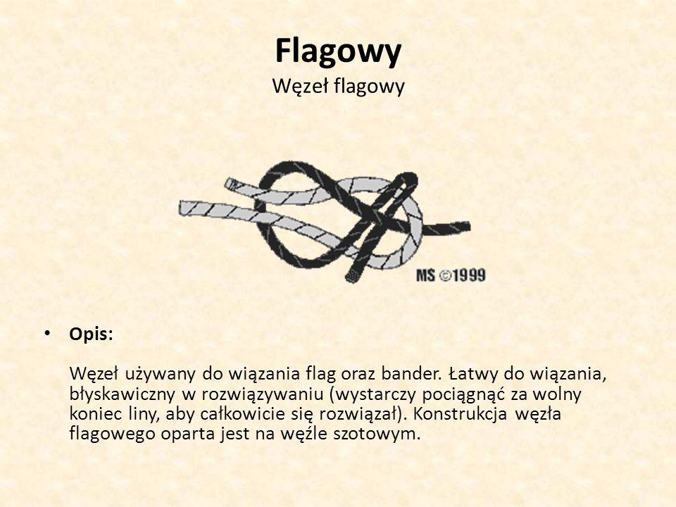 Flagowy Węzeł flagowy Opis: Węzeł używany do wiązania flag oraz bander. Łatwy do wiązania, błyskawiczny w rozwiązywaniu (wystarczy pociągnąć za wolny