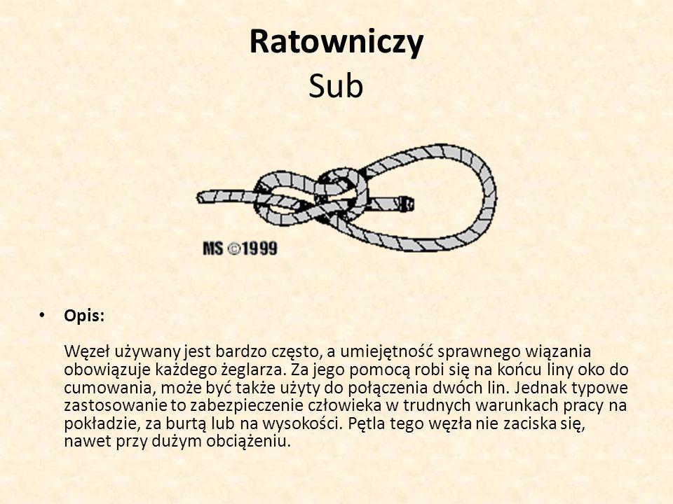 Ratowniczy Sub Opis: Węzeł używany jest bardzo często, a umiejętność sprawnego wiązania obowiązuje każdego żeglarza. Za jego pomocą robi się na końcu