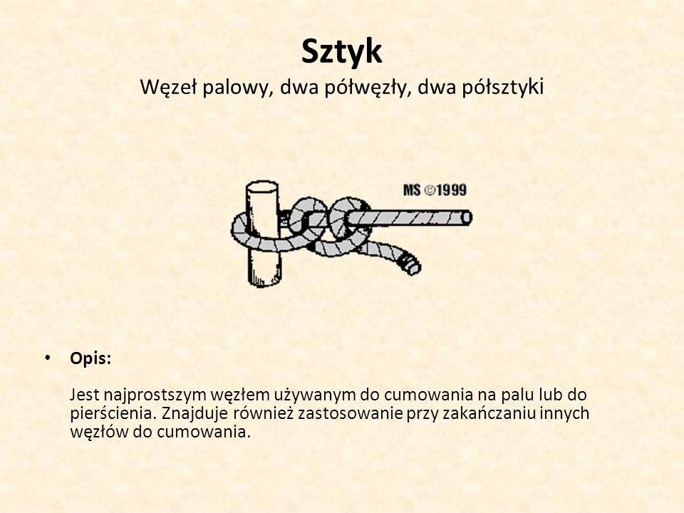 Sztyk Węzeł palowy, dwa półwęzły, dwa półszty ki Opis: Jest najprostszym węzłem używanym do cumowania na palu lub do pierścienia. Znajduje również zas