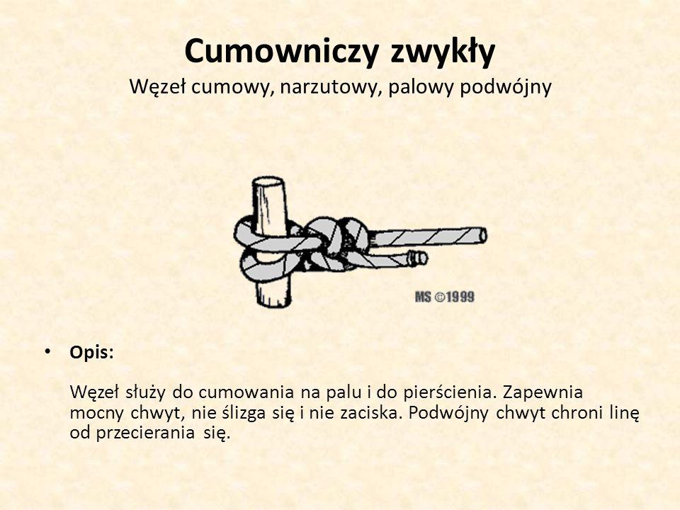 Cumowniczy zwykły Węzeł cumowy, narzutowy, palowy podwójny Opis: Węzeł służy do cumowania na palu i do pierścienia. Zapewnia mocny chwyt, nie ślizga s