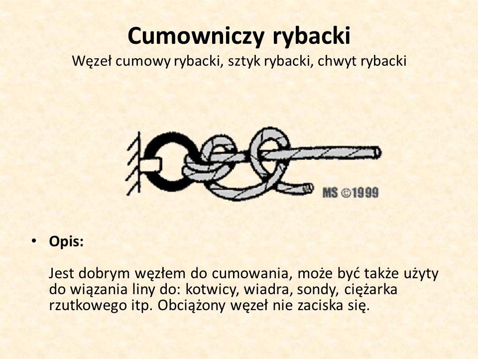Cumowniczy rybacki Węzeł cumowy rybacki, sztyk rybacki, chwyt rybacki Opis: Jest dobrym węzłem do cumowania, może być także użyty do wiązania liny do: