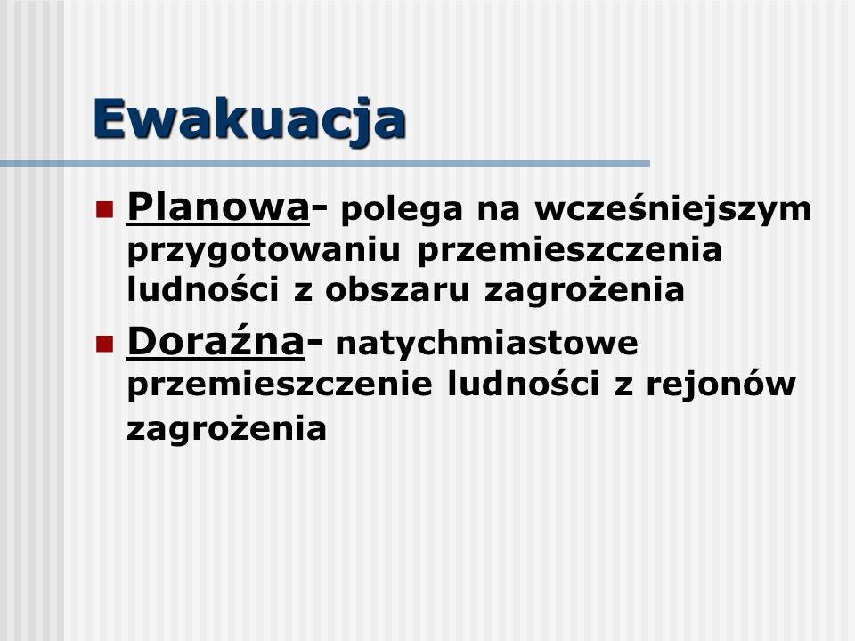 Ewakuacja Planowa- polega na wcześniejszym przygotowaniu przemieszczenia ludności z obszaru zagrożenia Doraźna- natychmiastowe przemieszczenie ludnośc