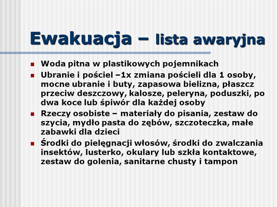 Ewakuacja – lista awaryjna Woda pitna w plastikowych pojemnikach Ubranie i pościel –1x zmiana pościeli dla 1 osoby, mocne ubranie i buty, zapasowa bie