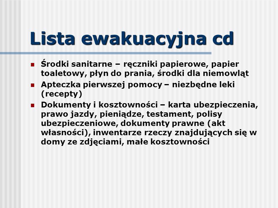 Lista ewakuacyjna cd Środki sanitarne – ręczniki papierowe, papier toaletowy, płyn do prania, środki dla niemowląt Apteczka pierwszej pomocy – niezbęd