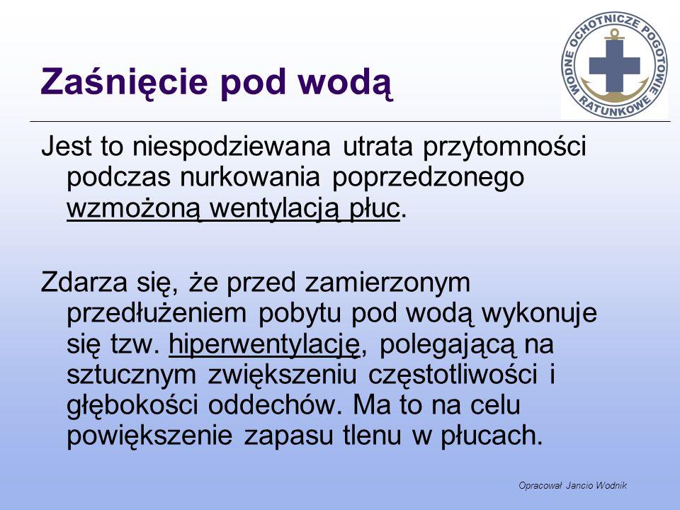Opracował Jancio Wodnik Zaśnięcie pod wodą Jest to niespodziewana utrata przytomności podczas nurkowania poprzedzonego wzmożoną wentylacją płuc. Zdarz