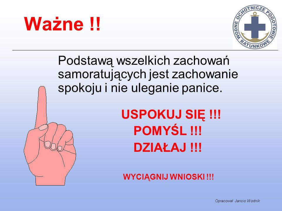 Opracował Jancio Wodnik Ważne !! Podstawą wszelkich zachowań samoratujących jest zachowanie spokoju i nie uleganie panice. USPOKUJ SIĘ !!! POMYŚL !!!