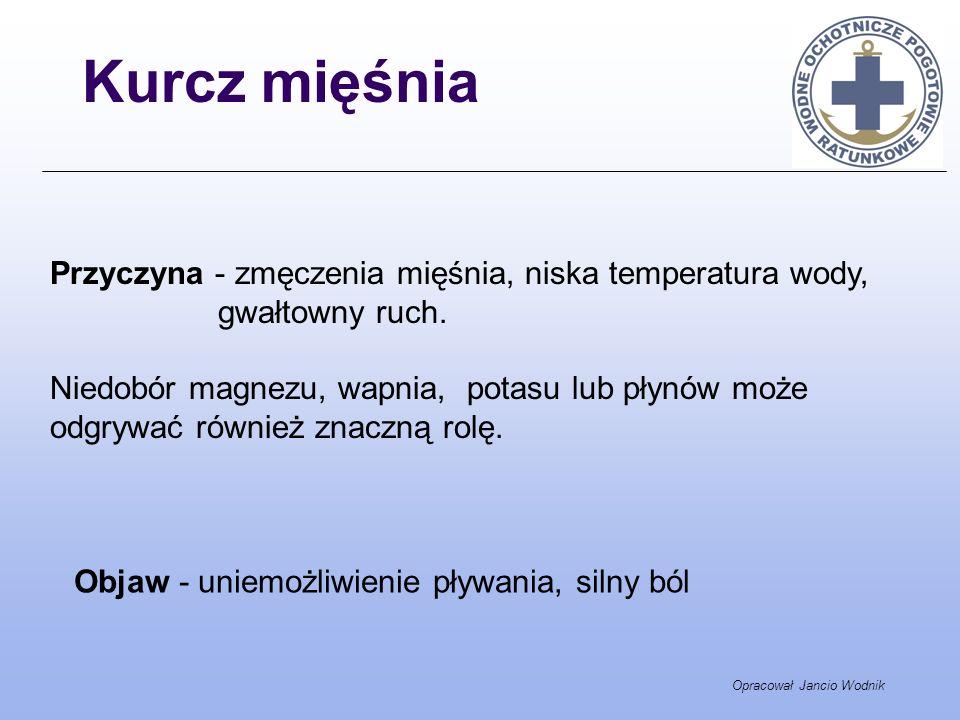 Opracował Jancio Wodnik Kurcz mięśnia Przyczyna - zmęczenia mięśnia, niska temperatura wody, gwałtowny ruch. Niedobór magnezu, wapnia, potasu lub płyn