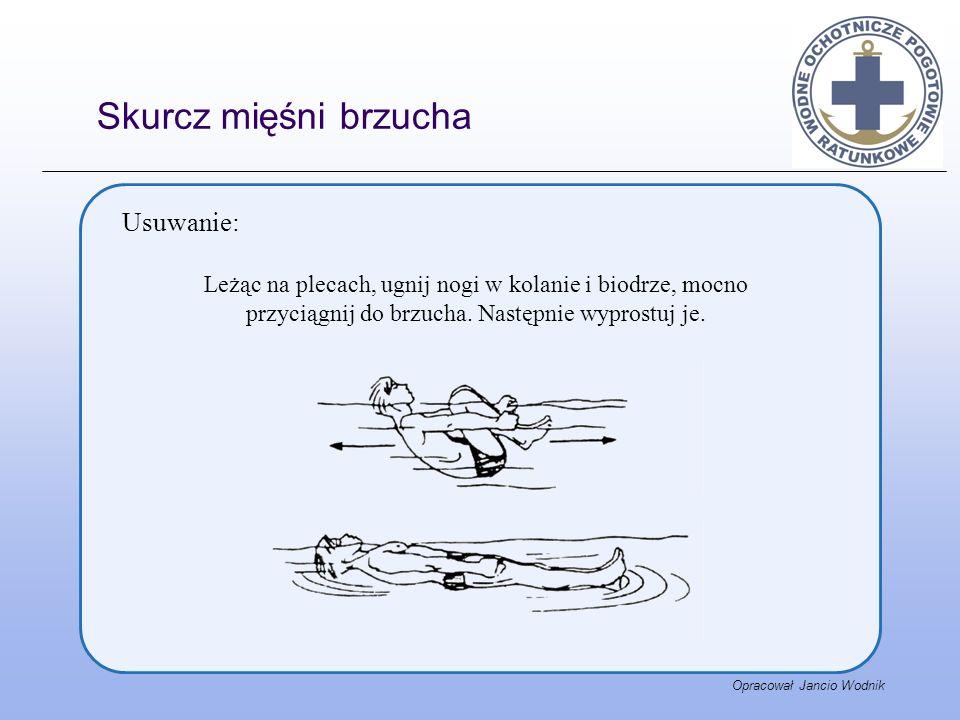 Opracował Jancio Wodnik Usuwanie: Leżąc na plecach, ugnij nogi w kolanie i biodrze, mocno przyciągnij do brzucha. Następnie wyprostuj je. Skurcz mięśn