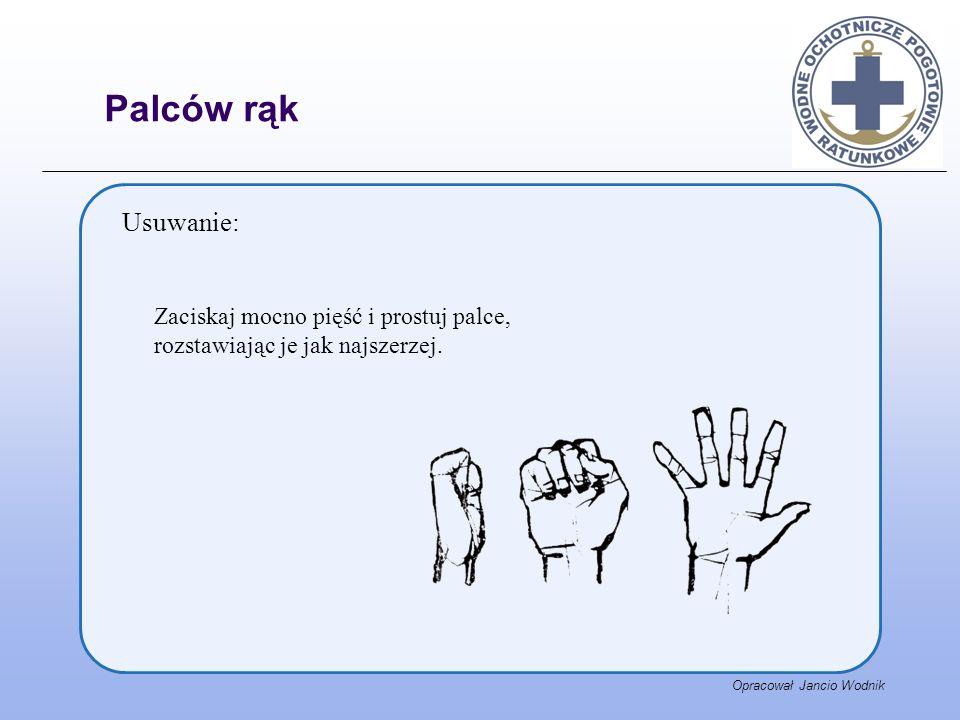 Opracował Jancio Wodnik Usuwanie: Zaciskaj mocno pięść i prostuj palce, rozstawiając je jak najszerzej. Palców rąk