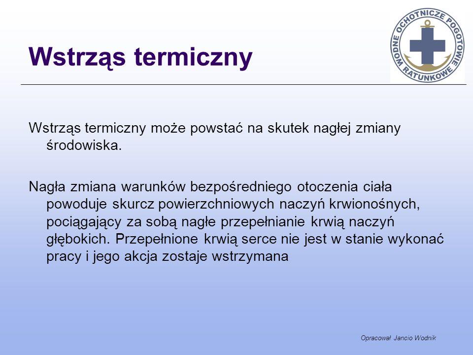 Opracował Jancio Wodnik Wstrząs termiczny Wstrząs termiczny może powstać na skutek nagłej zmiany środowiska. Nagła zmiana warunków bezpośredniego otoc