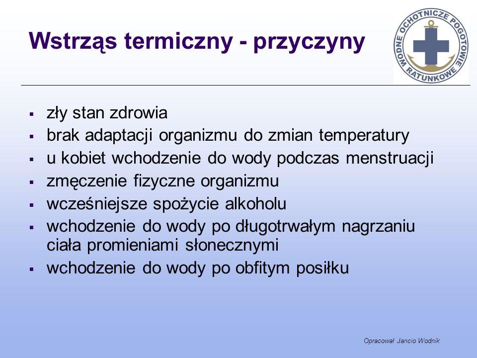 Opracował Jancio Wodnik Wstrząs termiczny - przyczyny zły stan zdrowia brak adaptacji organizmu do zmian temperatury u kobiet wchodzenie do wody podcz