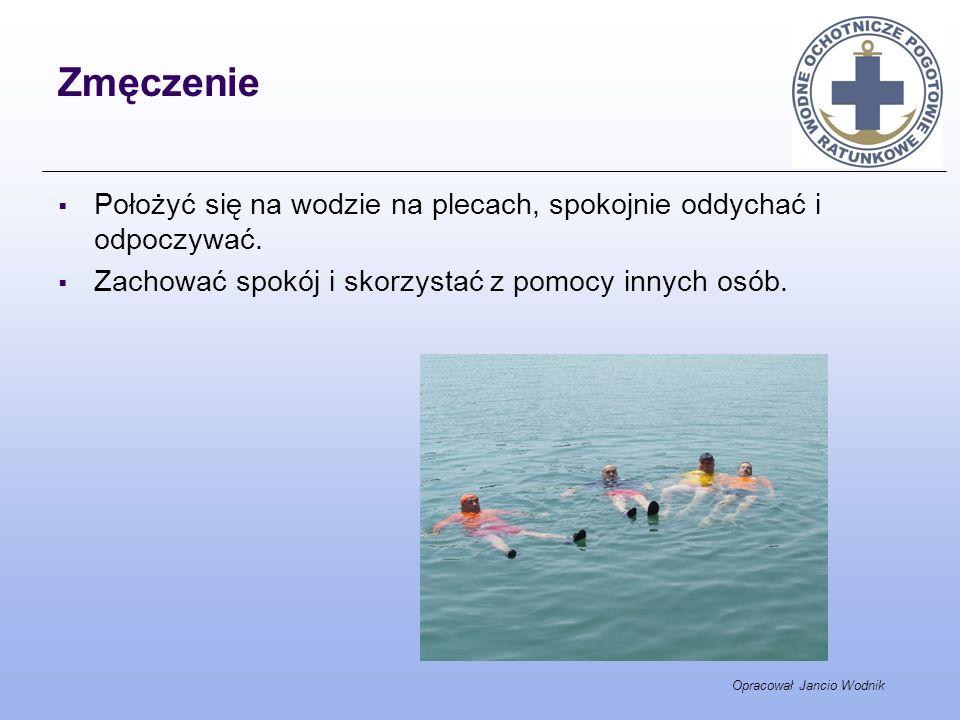 Opracował Jancio Wodnik Zmęczenie Położyć się na wodzie na plecach, spokojnie oddychać i odpoczywać. Zachować spokój i skorzystać z pomocy innych osób