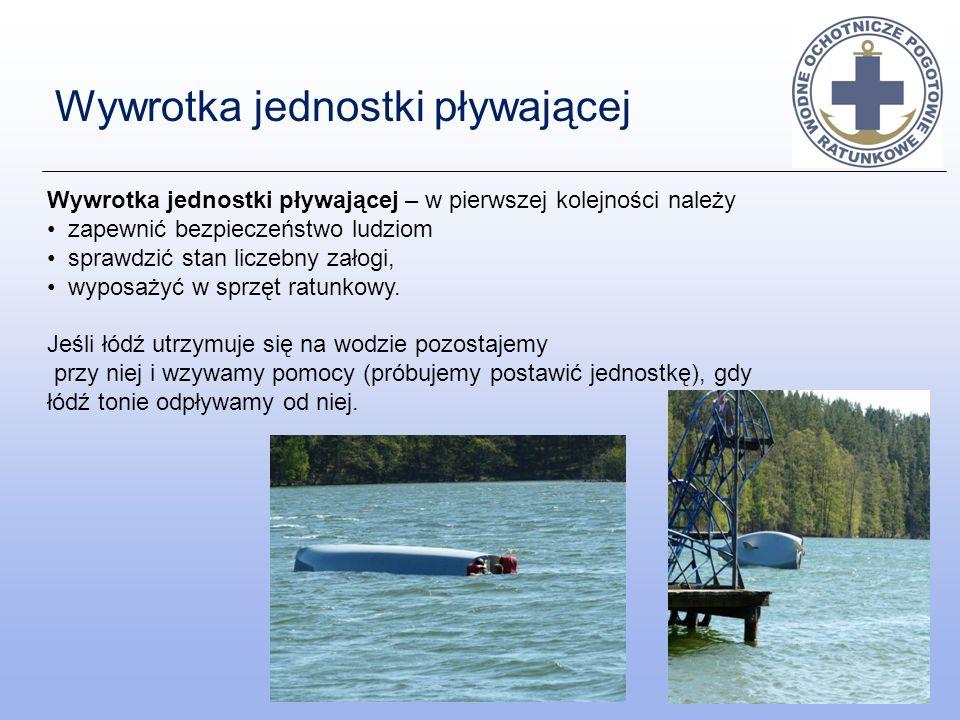 Wywrotka jednostki pływającej Wywrotka jednostki pływającej – w pierwszej kolejności należy zapewnić bezpieczeństwo ludziom sprawdzić stan liczebny za