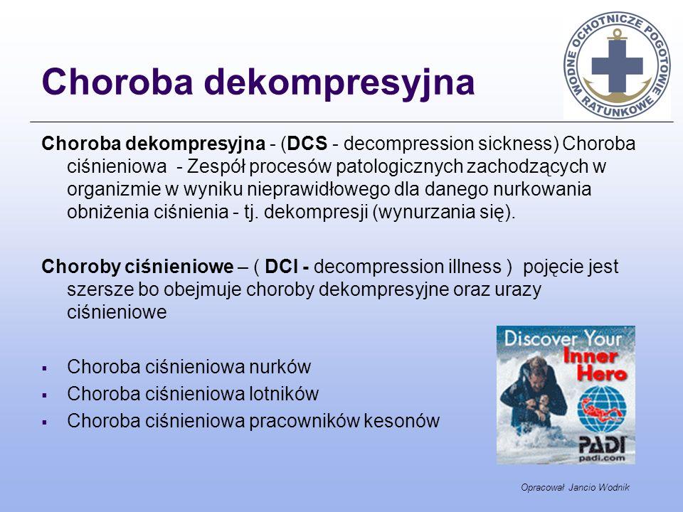 Choroba dekompresyjna Choroba dekompresyjna - (DCS - decompression sickness) Choroba ciśnieniowa - Zespół procesów patologicznych zachodzących w organ