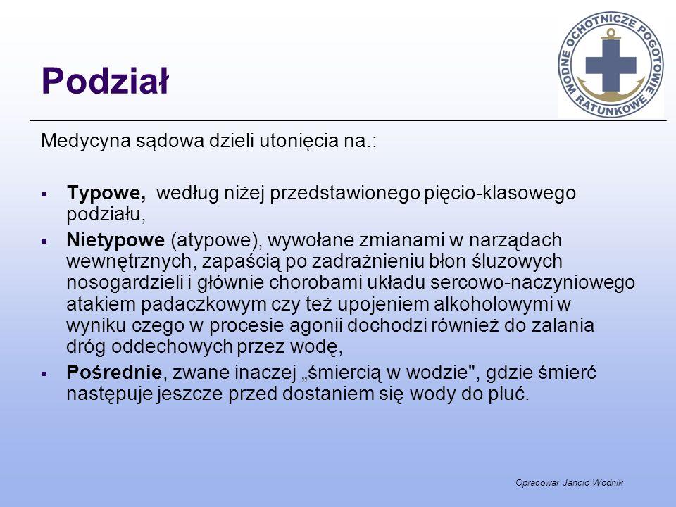 Opracował Jancio Wodnik Podział Medycyna sądowa dzieli utonięcia na.: Typowe, według niżej przedstawionego pięcio-klasowego podziału, Nietypowe (atypo