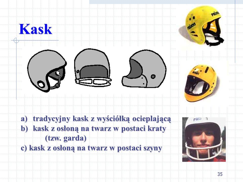 35 Kask a)tradycyjny kask z wyściółką ocieplającą a)tradycyjny kask z wyściółką ocieplającą b)kask z osłoną na twarz w postaci kraty (tzw. garda) (tzw