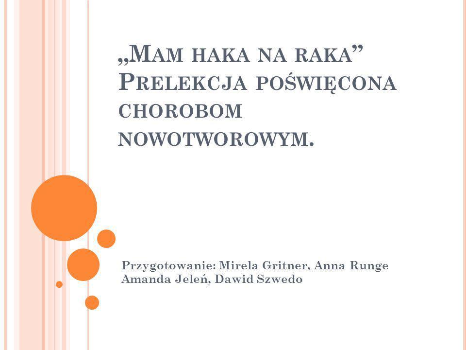 M AM HAKA NA RAKA P RELEKCJA POŚWIĘCONA CHOROBOM NOWOTWOROWYM. Przygotowanie: Mirela Gritner, Anna Runge Amanda Jeleń, Dawid Szwedo