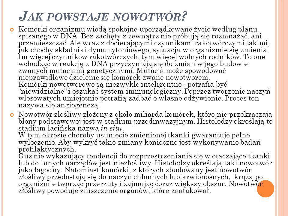 J AK POWSTAJE NOWOTWÓR .