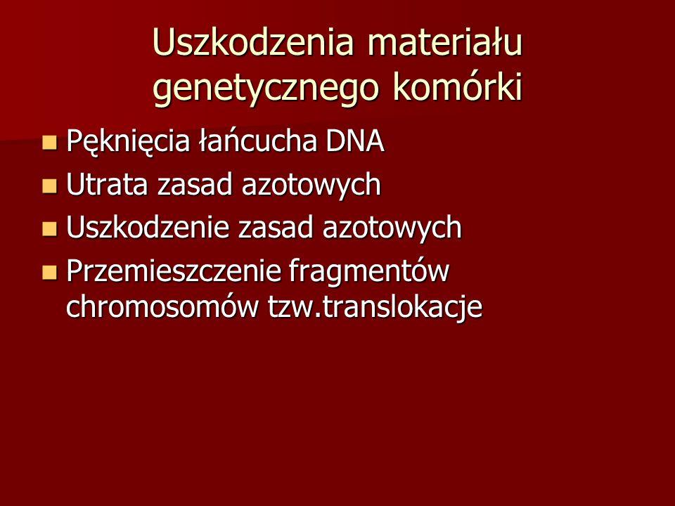 Uszkodzenia materiału genetycznego komórki Pęknięcia łańcucha DNA Pęknięcia łańcucha DNA Utrata zasad azotowych Utrata zasad azotowych Uszkodzenie zas