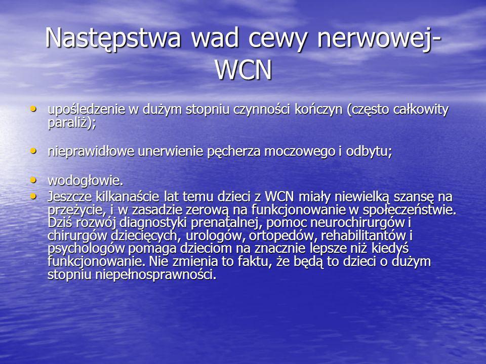 Następstwa wad cewy nerwowej- WCN upośledzenie w dużym stopniu czynności kończyn (często całkowity paraliż); upośledzenie w dużym stopniu czynności kończyn (często całkowity paraliż); nieprawidłowe unerwienie pęcherza moczowego i odbytu; nieprawidłowe unerwienie pęcherza moczowego i odbytu; wodogłowie.