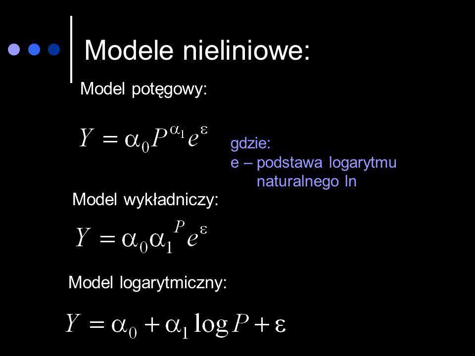 Modele nieliniowe: Model potęgowy: gdzie: e – podstawa logarytmu naturalnego ln Model wykładniczy: Model logarytmiczny: