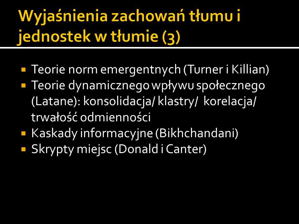 Teorie norm emergentnych (Turner i Killian) Teorie dynamicznego wpływu społecznego (Latane): konsolidacja/ klastry/ korelacja/ trwałość odmienności Ka