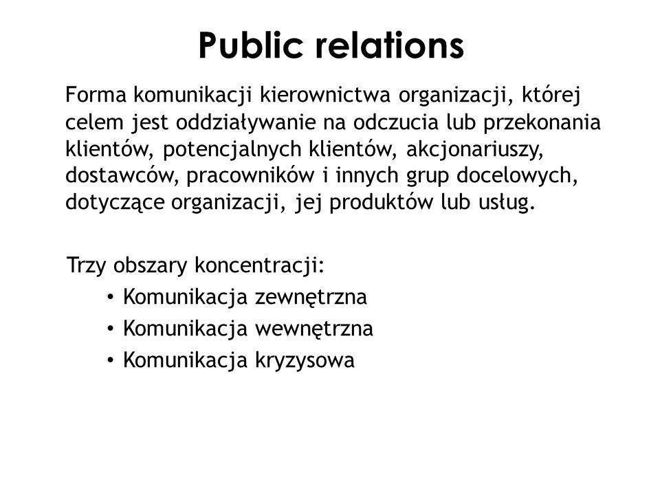 Public relations Forma komunikacji kierownictwa organizacji, której celem jest oddziaływanie na odczucia lub przekonania klientów, potencjalnych klien