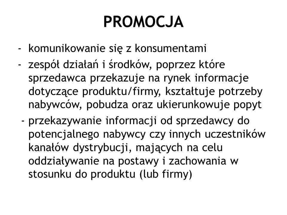 PROMOCJA -komunikowanie się z konsumentami -zespół działań i środków, poprzez które sprzedawca przekazuje na rynek informacje dotyczące produktu/firmy