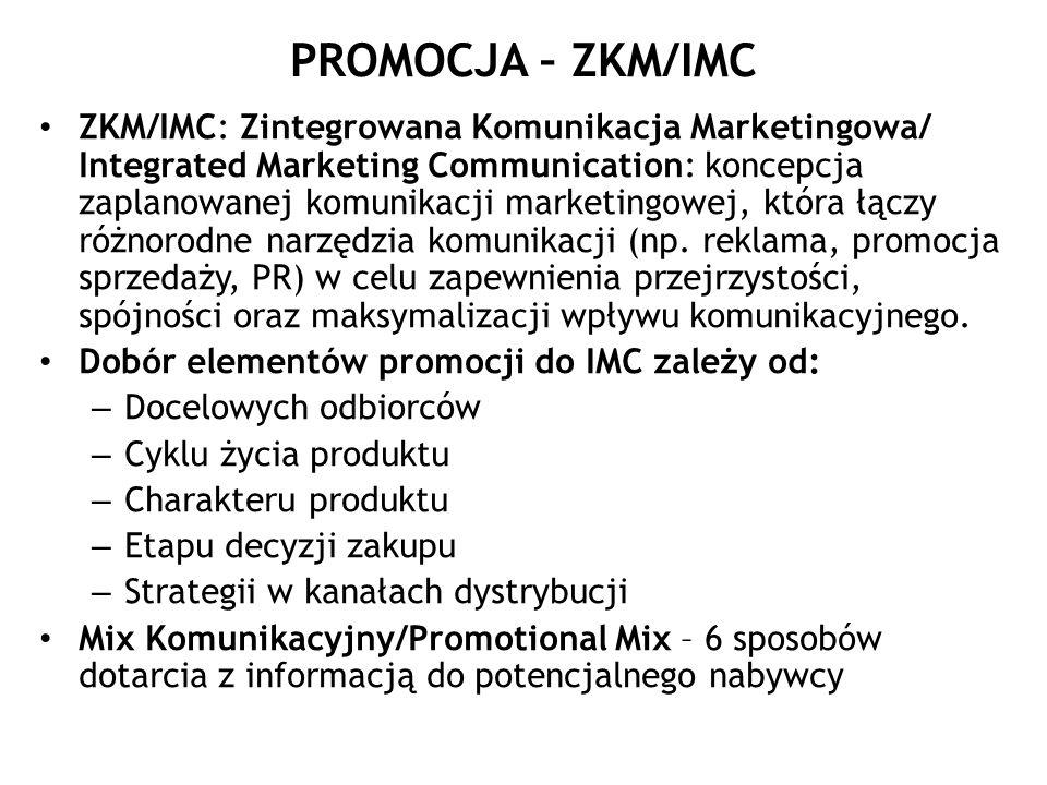 PROMOCJA – ZKM/IMC ZKM/IMC: Zintegrowana Komunikacja Marketingowa/ Integrated Marketing Communication: koncepcja zaplanowanej komunikacji marketingowe