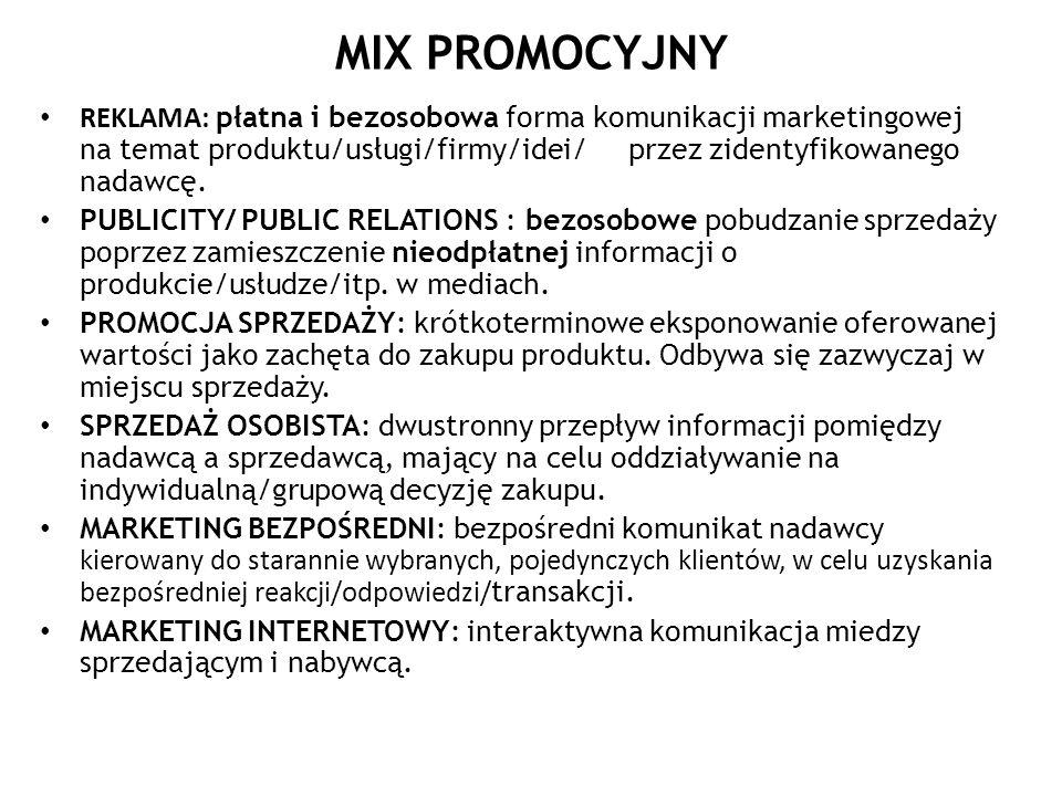 MIX PROMOCYJNY REKLAMA: płatna i bezosobowa forma komunikacji marketingowej na temat produktu/usługi/firmy/idei/ przez zidentyfikowanego nadawcę. PUBL