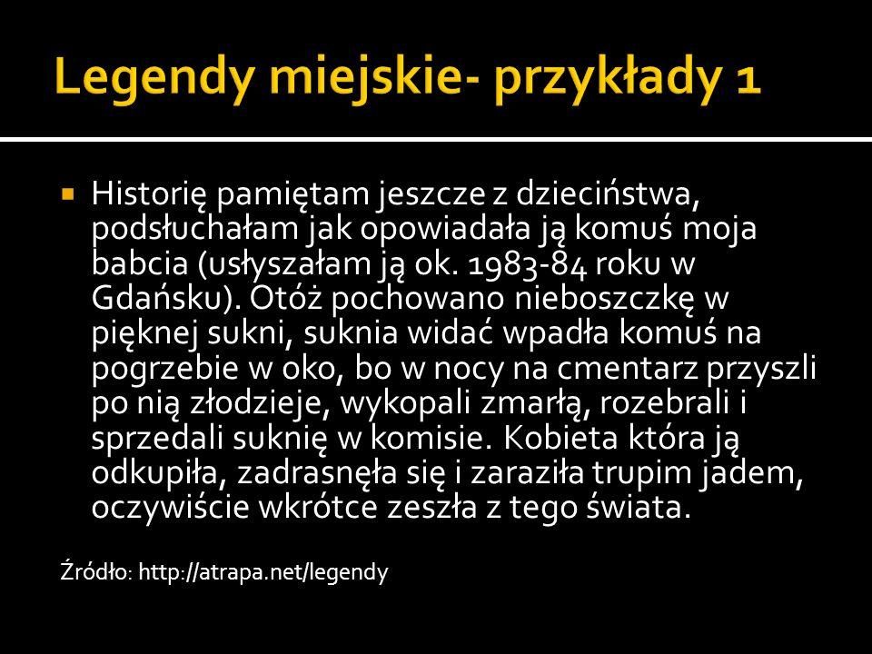 Historię pamiętam jeszcze z dzieciństwa, podsłuchałam jak opowiadała ją komuś moja babcia (usłyszałam ją ok. 1983-84 roku w Gdańsku). Otóż pochowano n