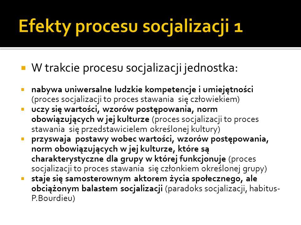 Socjalizacja to mechanizm transmisji kulturowej, a tym samym społecznej reprodukcji i odtwarzania się struktury społecznej Socjalizacja tworzy również warunki społecznej zmiany Socjalizacja to podstawowy mechanizm kontrolny: Społeczeństwo nieustannie nas nabiera, że to, co jest zbiorem zdarzeń przypadkowych jest konieczne(Berger i Luckmann)