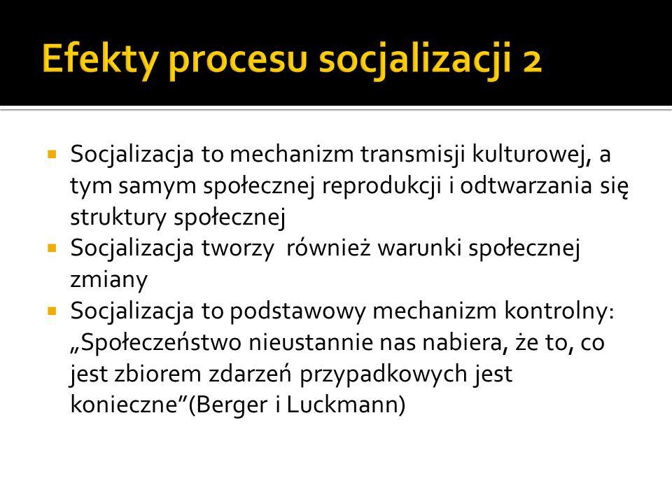Socjalizacja to mechanizm transmisji kulturowej, a tym samym społecznej reprodukcji i odtwarzania się struktury społecznej Socjalizacja tworzy również