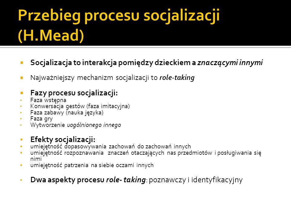 Socjalizacja to interakcja pomiędzy dzieckiem a znaczącymi innymi Najważniejszy mechanizm socjalizacji to role-taking Fazy procesu socjalizacji: Faza