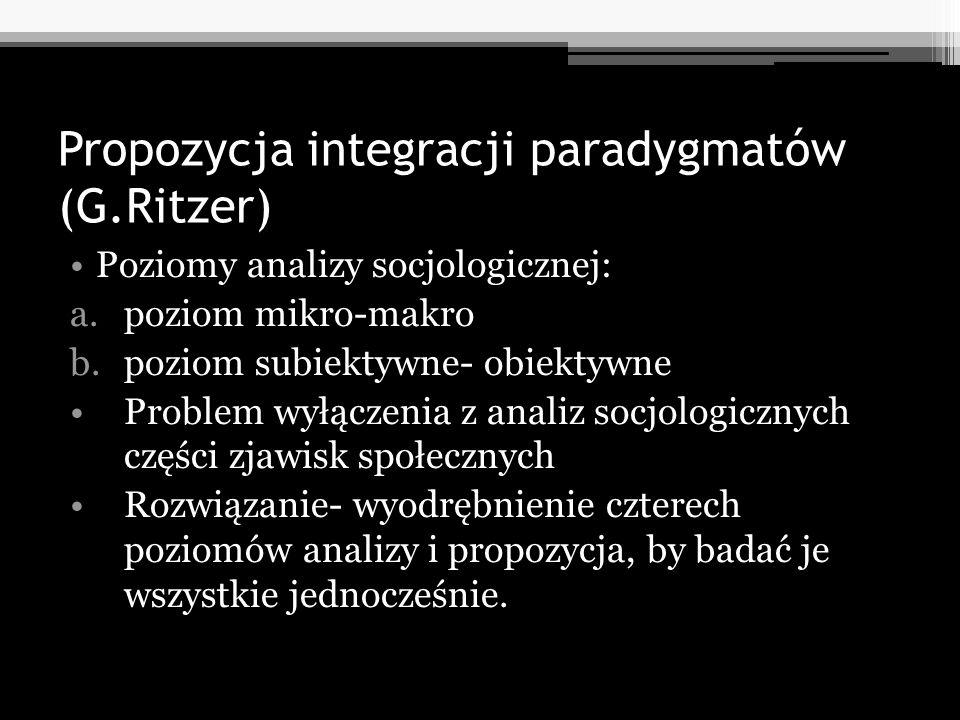 Propozycja integracji paradygmatów (G.Ritzer) Poziomy analizy socjologicznej: a.poziom mikro-makro b.poziom subiektywne- obiektywne Problem wyłączenia