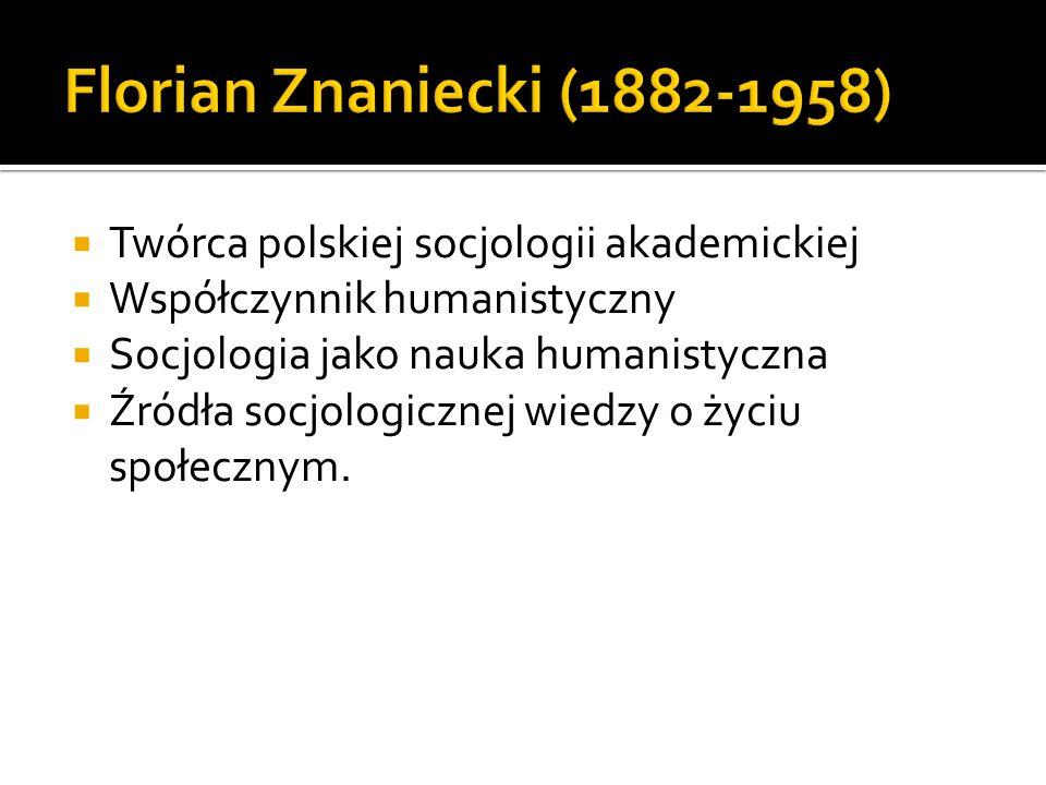Twórca polskiej socjologii akademickiej Współczynnik humanistyczny Socjologia jako nauka humanistyczna Źródła socjologicznej wiedzy o życiu społecznym