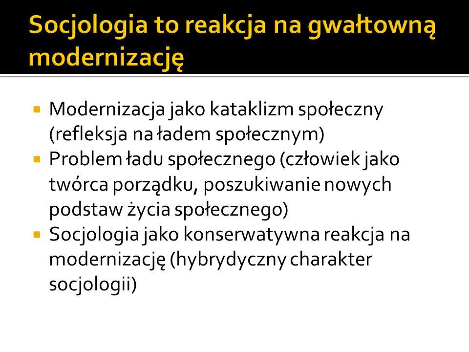 Modernizacja jako kataklizm społeczny (refleksja na ładem społecznym) Problem ładu społecznego (człowiek jako twórca porządku, poszukiwanie nowych podstaw życia społecznego) Socjologia jako konserwatywna reakcja na modernizację (hybrydyczny charakter socjologii)