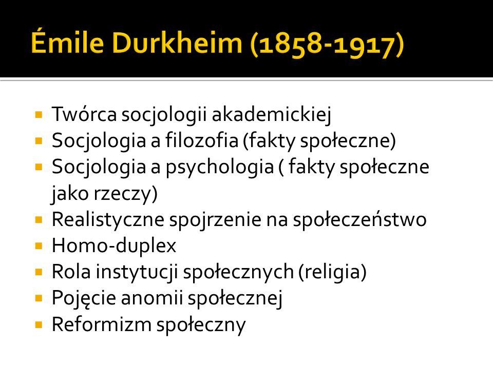 Twórca socjologii akademickiej Socjologia a filozofia (fakty społeczne) Socjologia a psychologia ( fakty społeczne jako rzeczy) Realistyczne spojrzenie na społeczeństwo Homo-duplex Rola instytucji społecznych (religia) Pojęcie anomii społecznej Reformizm społeczny