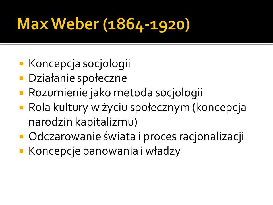 Koncepcja socjologii Działanie społeczne Rozumienie jako metoda socjologii Rola kultury w życiu społecznym (koncepcja narodzin kapitalizmu) Odczarowan