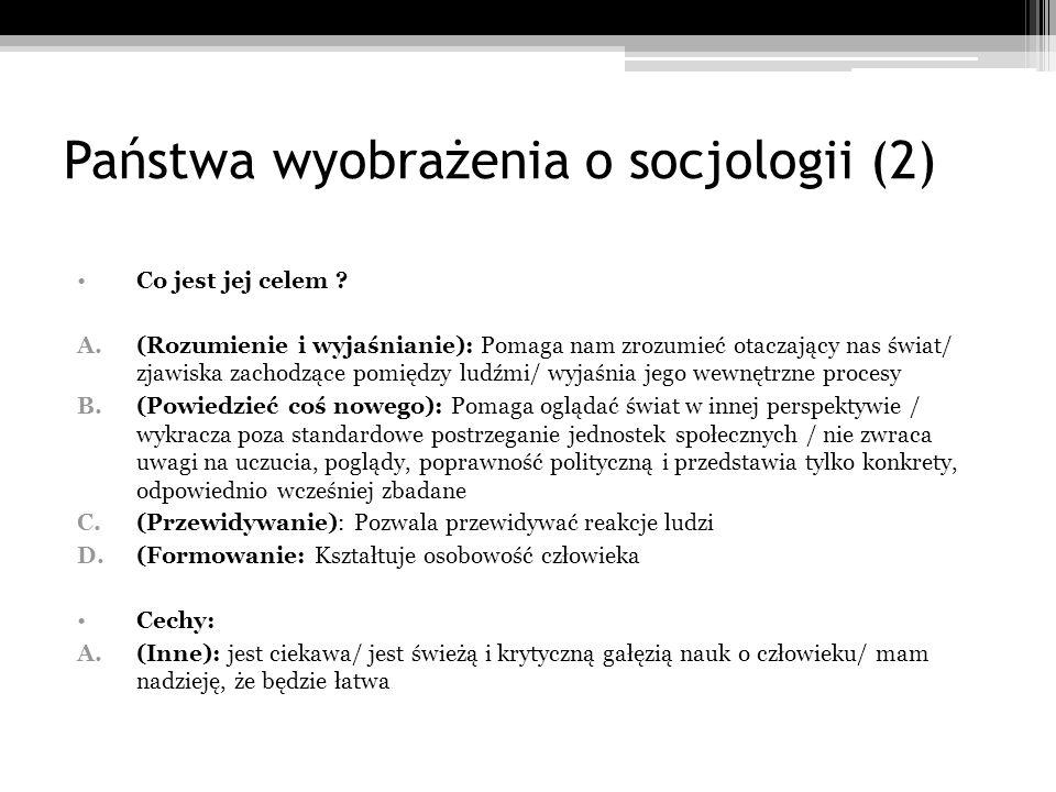 Państwa wyobrażenia o socjologii (2) Co jest jej celem ? A.(Rozumienie i wyjaśnianie): Pomaga nam zrozumieć otaczający nas świat/ zjawiska zachodzące