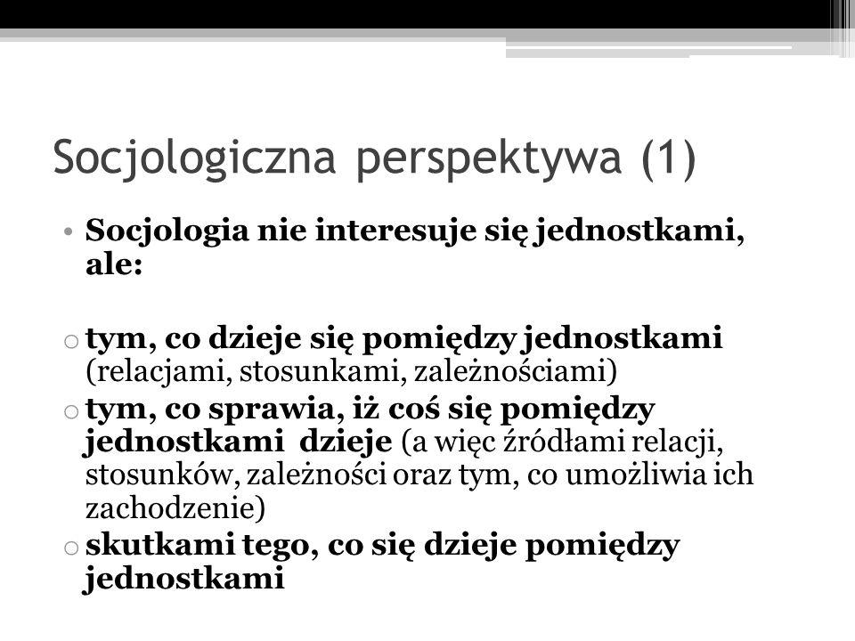 Socjologiczna perspektywa (1) Socjologia nie interesuje się jednostkami, ale: o tym, co dzieje się pomiędzy jednostkami (relacjami, stosunkami, zależn