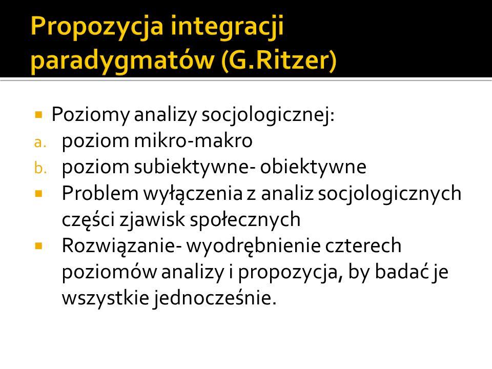 Poziomy analizy socjologicznej: a. poziom mikro-makro b. poziom subiektywne- obiektywne Problem wyłączenia z analiz socjologicznych części zjawisk spo